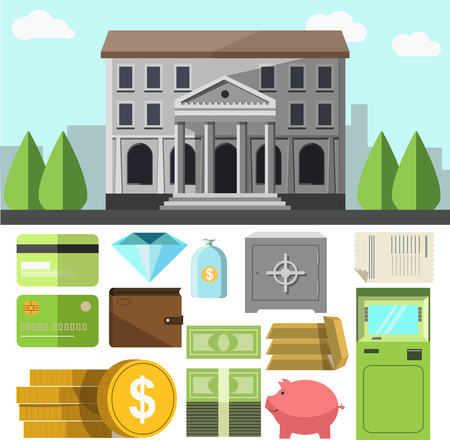 business savings: Vector bank building and business icons set. Flat design elements of finance banking symbol: credit cards and wallet, cash money and ATM teller, savings and coins, gems and safe. Illustration isolated Illustration