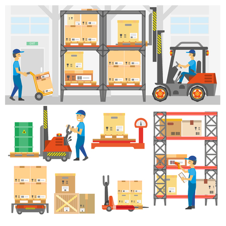 forklifts: Logistic and delivery service set. Warehouse center and loading trucks, forklifts and workers, storage and forklift transportation, goods distribution. Flat vector illustration isolated on white.