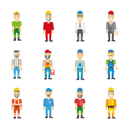 workman: Professional workman set: builder and repairman, engineer and worker characters. Vector icons work man. Cartoon illustration isolated on white.