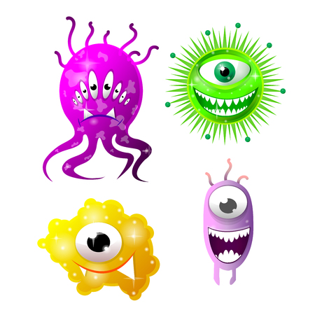 Set of cartoon bacteria, fun characters, cute monsters with different shapes, colors and facial expressions. Funny virus cell and microbe. Cartoon design. Vector isolated on white background.