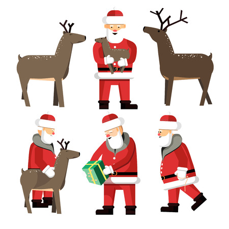 Santa Clauses set for christmas. Vector Illustration isolated Illustration