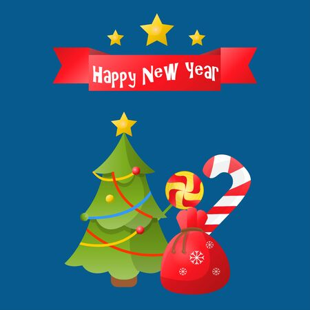 Happy New Year or Merry Christmas greeting card with christmas tree. Holiday illustration. Vector design for celebration.