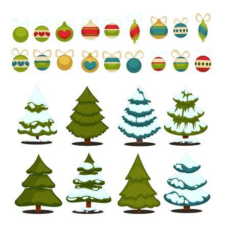 christmas tree ball: Christmas tree Set of christmas green trees and decoration ball. Winter christmas tree holiday design elements xmas fir with snow and decoration. Christmas tree Cartoon style. Isolated vector.