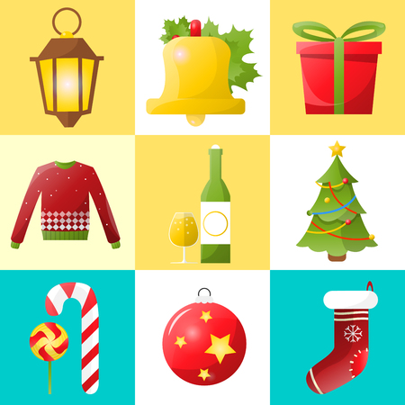 holiday symbol: Christmas and new year icons set. Collection of winter holiday decoration objects. Vector xmas symbol. Illustration