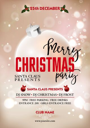 decoration objects: Merry Christmas party poster design template with decoration ball. Greeting messages and objects blurred background. Xmas vector design template. Illustration