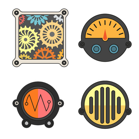 controlling: Robot technical Colorful meter icons set. Power panel, interface barometer gauge control. Flat style. Vector illustration isolated on white background.