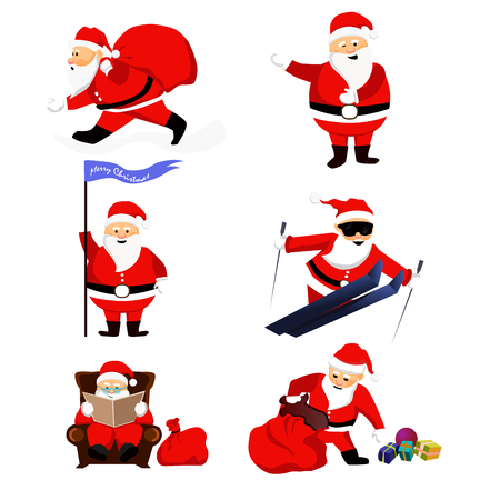 clauses: Santa Clauses set for christmas. Illustration isolated