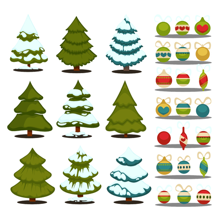 fir trees: Christmas tree Set of christmas green trees and decoration ball. Winter christmas tree holiday design elements xmas fir with snow and decoration. Christmas tree Cartoon style.