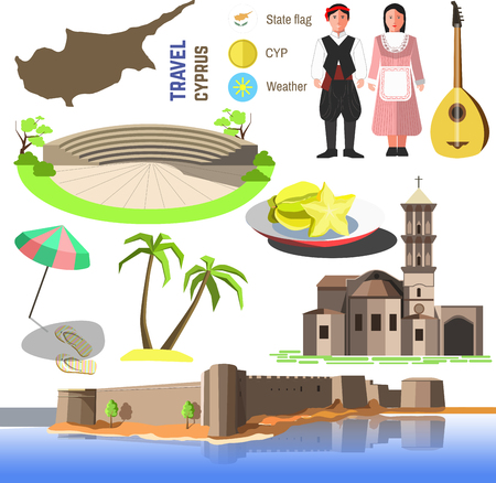 Set of Cyprus symbols and landmarks. Flat illustrations. Country symbols map, Church Saint Lazarus, Paphos Park and Kyrenia , cypriots and bouzouki, sea beach, umbrella and palm trees.