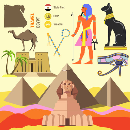 Set of Egypt symbols and landmarks. Flat illustrations. Symbols of ancient culture: map, sphinx and pyramid pharaoh in Giza, camel and cat, ankh and eye, anubis and hathor. Illustration