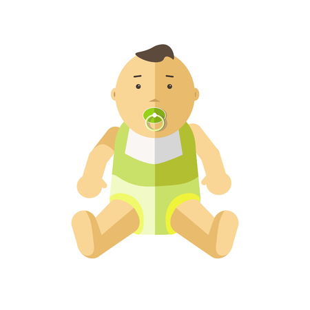 Cute little baby 0-12 months. Child with pacifier. Cartoon character of toddler, infant, kid. Flat style. illustration isolated on white background.
