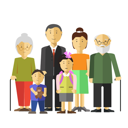 relative: Portrait of happy big family together mother and father, grandfather and grandmother, son and daughter.  illustration with children, parents, grandparents. Isolated on white. Flat style. Illustration