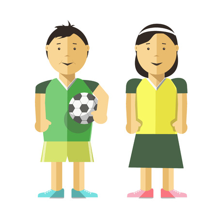 kid smile: Cartoon boy, girl in uniform and soccer ball. Young players of football team. Cute child, kid with smile. sport illustration in flat style, isolated on white background. Illustration