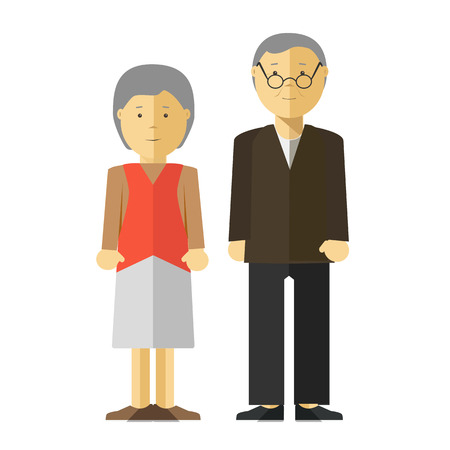 Old man and woman, seniors. Happy couple of elderly people: grandfather and grandmother. illustration with adult persons characters, isolated on white background. Illustration