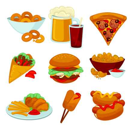 bagels: Set of fast food meals. Collection of cartoon snack icons burger and sausage, french fries and hot dog, cola and beer, pizza and bagels. illustration isolated on white.