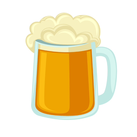 lager beer: Lager beer glass with foam. Icon mug with cold alcohol isolated on background. illustration of full pint of golden ale. Flat design style for bar, pub or party.