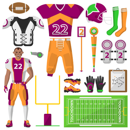 Football icons set. Football, sport equipment and uniform for workout and tournament. Equipment used in the sport. isolated illustration on white background.