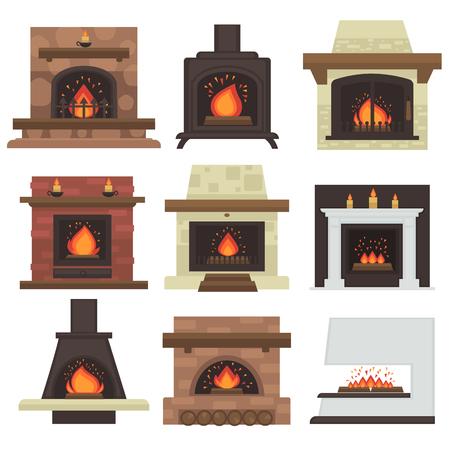 ensemble de cheminées à la maison avec le feu. Différents foyers de chauffage au bois et électrique, charbon et gaz, cuisinière bio-carburant. Flat icon design. Illustration isolé sur fond blanc. Vecteurs