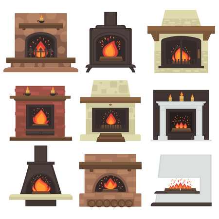 set of home fireplaces with fire. Different fireplaces wood burning and electric, coal and gas, bio-fuel stove. Flat icon design. Illustration isolated on white background. Vettoriali