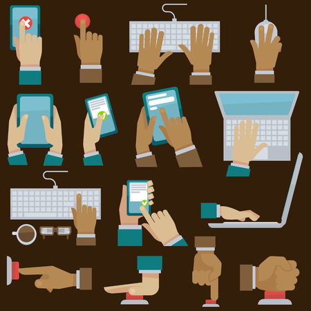 hand phone: Hands set with gadgets. illustration. Finger pushes button. Flat style.