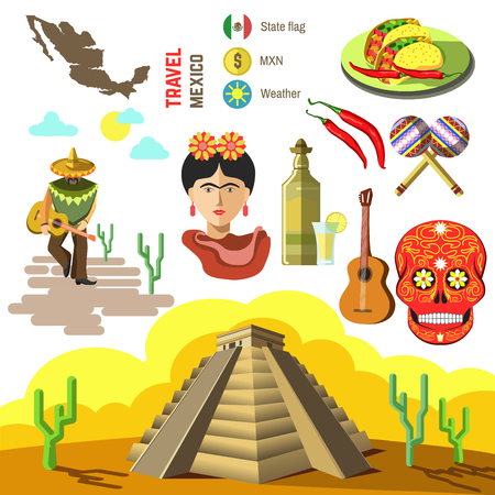 Set of Mexico travel symbols. Mexican flat illustrations. Collection icons tequila, chili and taco, sombrero, guitar and maracas, skull and Machu Picchu pyramid, Frida, flag and map.