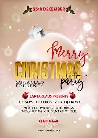 christmas objects: Merry Christmas party poster design template with decoration ball. Greeting messages and objects blurred background. Xmas design template.
