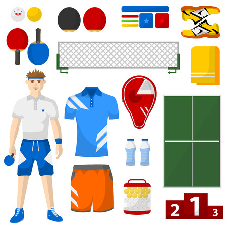 sport equipment: table tennis icons set. table tennis sport equipment and uniform for workout and tournament. Equipment used in the sport. isolated illustration on white background.