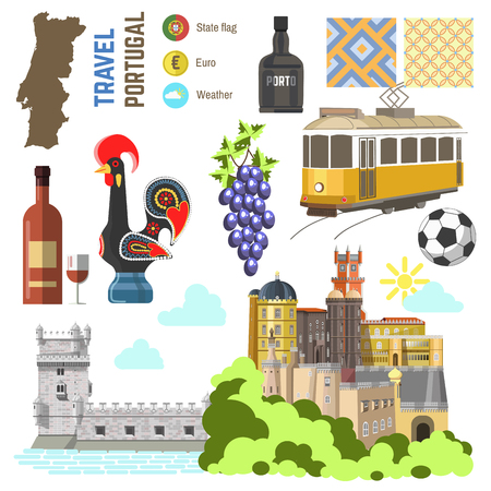 portugal: Portugal culture symbol set. Europe Travel Lisbon direction. icons. Flat isolated illustration