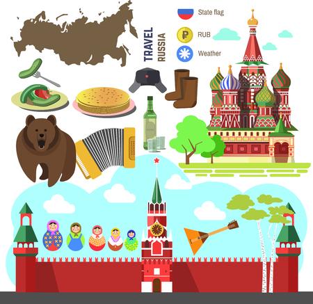 bandera rusia: Conjunto de símbolos de Rusia de viaje y puntos de referencia de Moscú. ilustraciones planas rusos: Kremlin y la Iglesia ortodoxa  catedral, acordeón y balalaika, muñeca matrioshka, oso y abedules, materia de la bandera.