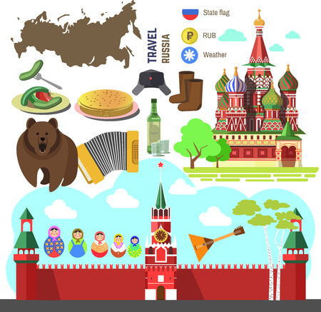 Set of Russia travel symbols and Moscow landmarks. Russian flat illustrations: Kremlin and orthodox churchcathedral, accordion and balalaika, matrioshka doll, bear and birch, flag and map.