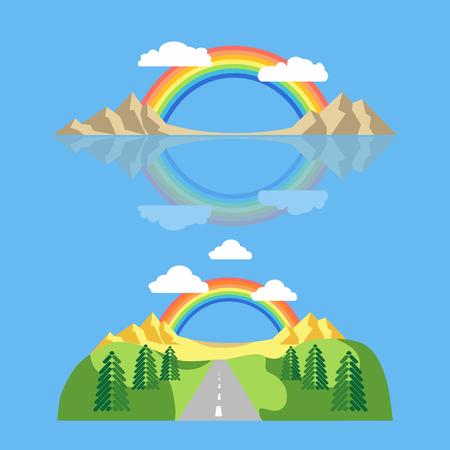 homosexual: Rainbow icon flat. LGBT concept image. Homosexual minority icon. Illustration