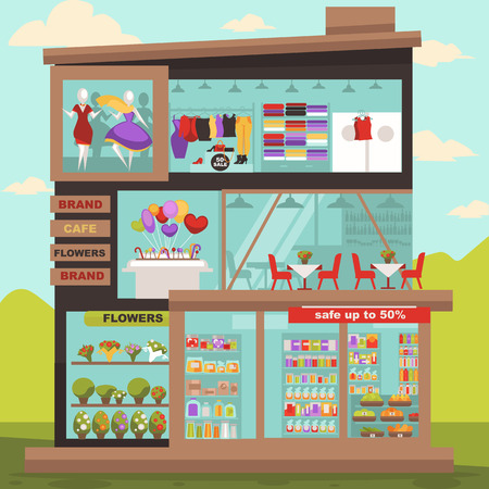shopping center interior: Shopping center building for retail sales. Mall supermarket with food and different products, cafe and candy shop, clothing store and flowers market. illustration in flat style.