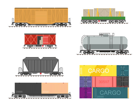 railway transport: Set of train for delivery cargo. Collection of railway transport, wagons and tanks for railroad. illustration in flat style isolated on white background.