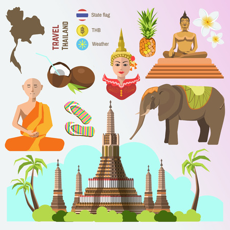 Set of Thailand travel symbols and Bangkok landmarks. Thai culture flat  illustrations. Collection tourism icons: elephant and monk, Golden Buddha and temple, flower and pineapple, flag and map.