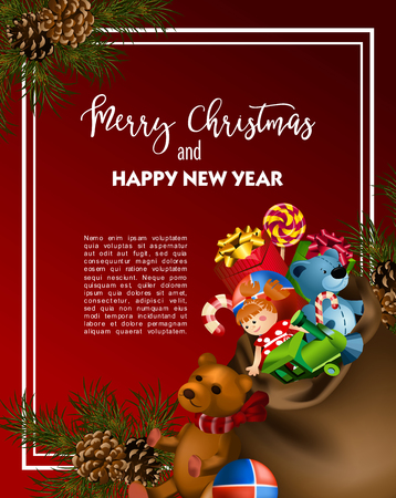 festive background: Christmas greeting card template with fir tree and vintage toy gifts. Vector illustration.