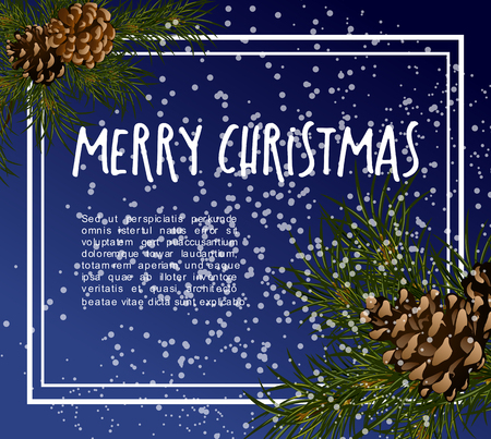 festive background: Christmas greeting card with fir tree and pine corns. Vector design template banner.