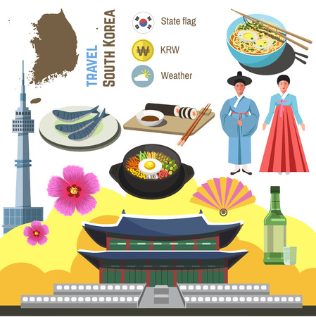 South Korea culture symbol set.  Travel Seoul direction concept. Vector icons. Flat isolated illustration Иллюстрация