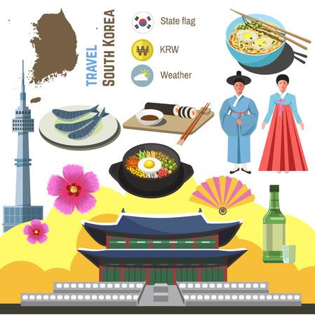 Zuid-Korea cultuur symboolset. Reizen Seoul richting concept. Vector pictogrammen. Vlak geïsoleerde illustratie Stockfoto - 67674077
