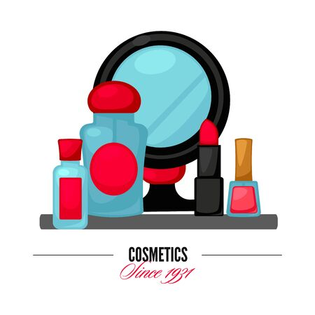 stage makeup: Cosmetics and fashion make up objects mirror, lipstick andcream, case, brush. Vector Illustration. Illustration