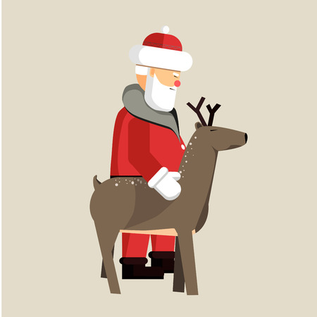 Santa Clause ready for christmas. Vector Illustration isolated