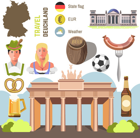 germany: Travel Concept Germany Landmark Flat Icons Design. Set of country Germany culture and traditional symbols. Vector Illustration Illustration