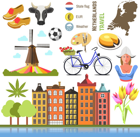 map of netherlands: Netherland flat icons design travel concept. Symbols travel set and europe culture . vector illustrations with Netherlands famous landmarks.