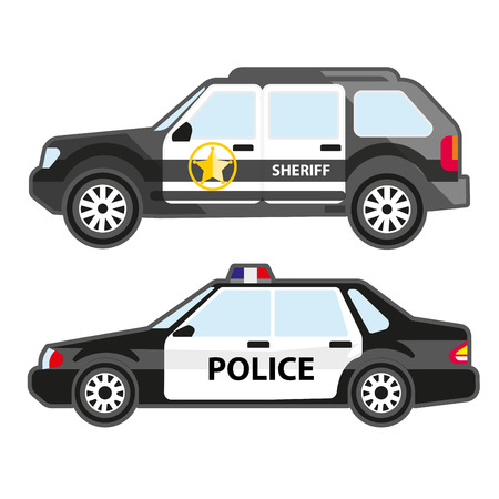 interceptor: Set of police automobiles. Urban patrol vehicle and car of sheriff. Symbol of security service, 911 or cop. Vector illustration isolated on white background. Flat icons for design.