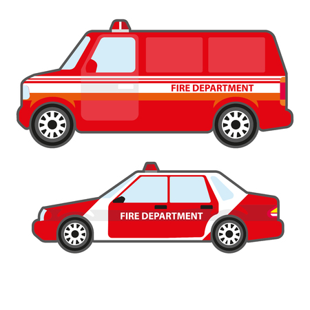 Set of red fire department car to help. Fire truck bus and emergency rescue vehicle - side view. Vector illustration isolated on white background. Flat icons for design.
