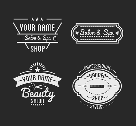 beauty shop: Set of vintage barber shop  beauty spa salon badges. Vector elements. Isolated icons on dark background