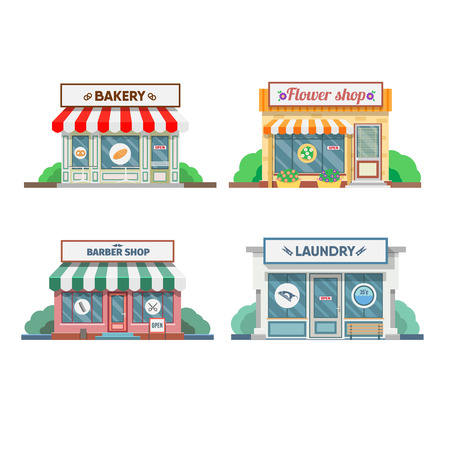 newsstand: Flower shop, laundry, barber and bakery facade in the town. Vector illustration