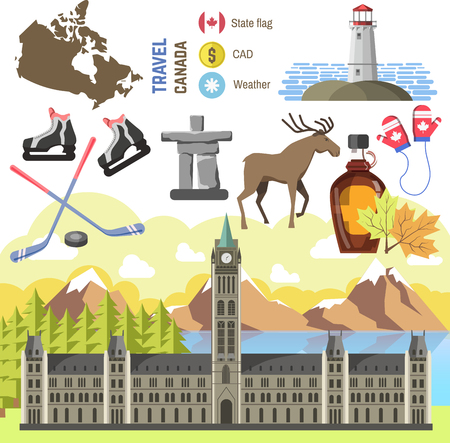 traditional illustration: Travel Canada traditional objects. Vector Illustration. Isolated on white.