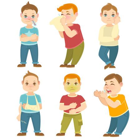 sick children: Sick children vector collection. Hight temperature, toothache stomach ache. Cartoon characters.