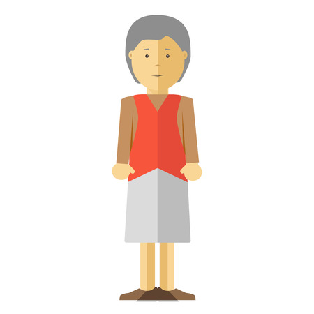 grey hair: Old lady or grandmother. Icon of elderly female person with smile. Happy mature woman or grandma with grey hair. Cartoon character in flat style. Vector isolated illustration on white background. Illustration