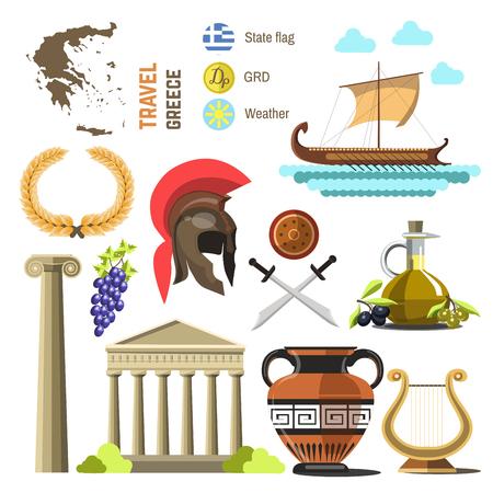 Colección de viajes de vector de Grecia. Diseño plano de iconos de Grecia Landmark. Aislado en blanco. Ilustración de vector